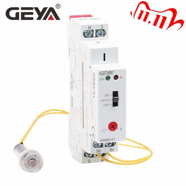 Ücretsiz kargo GEYA GRB8 01 alacakaranlık anahtarı sensörü ile AC110V 240V fotoelektrik zamanlayıcı ışık sensörü röle