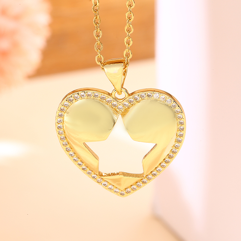 Trendy Stainless Steel Chain Copper Gilded Heart Five-pointed Star Moon Pendant Necklace For Women CZ jewelry gift