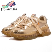 DORATASIA New Brand Designer Sneakers Women 2019 Whole Genuine Leather Dad Shoes Ladies Flat Platform Shoes Woman Flats цены онлайн