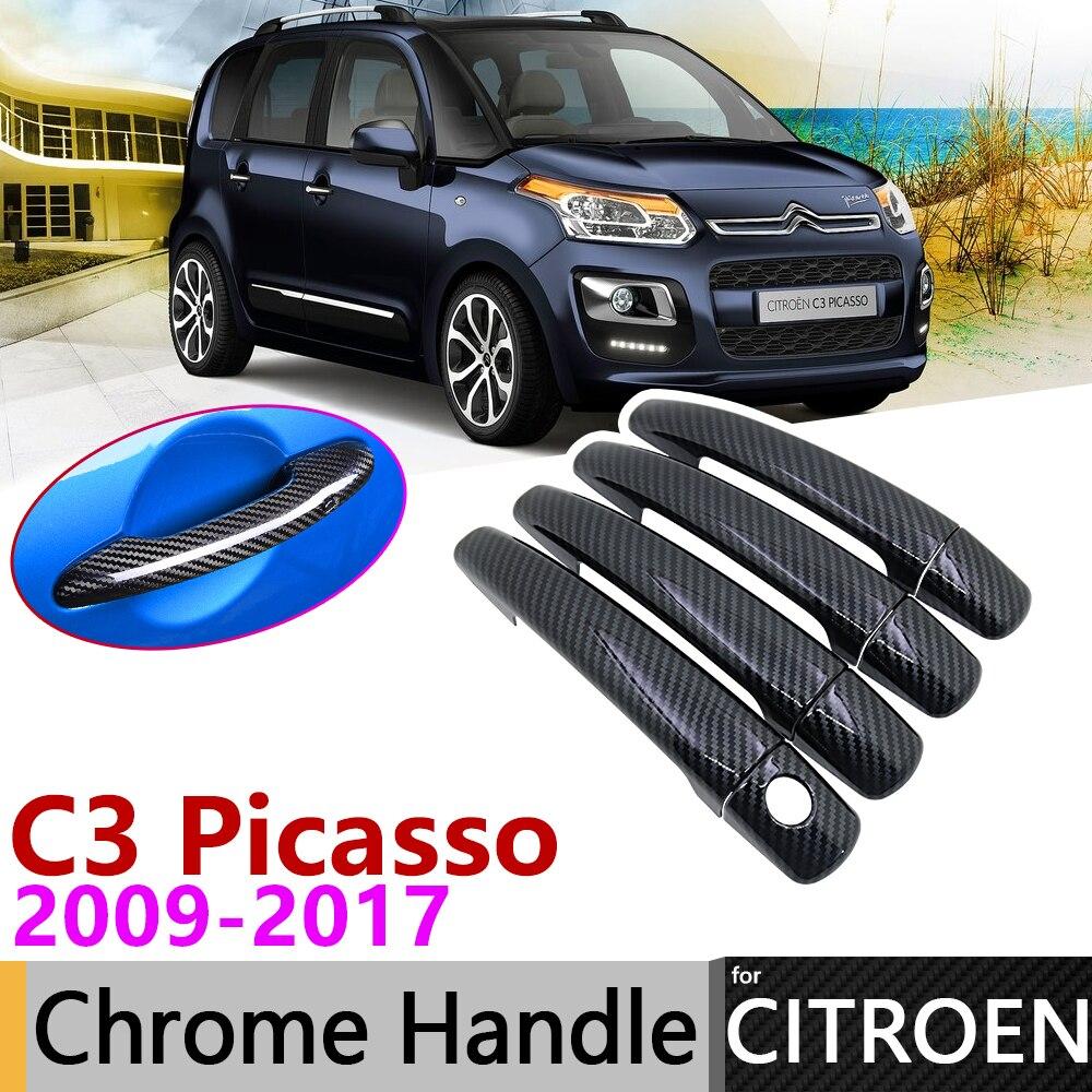 Black Carbon Fiber Exterior Door Handle Cover For Citroen C3 Picasso 2009~2017 2010 Car Accessories Stickers Trim Set Chrome