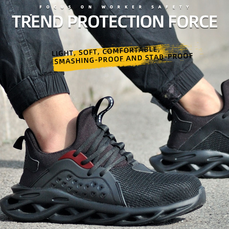 Breathable Lightweight Flying Woven Labor Insurance Shoes Construction Site Anti-smashing Anti-piercing Safety Boots Dropshiping