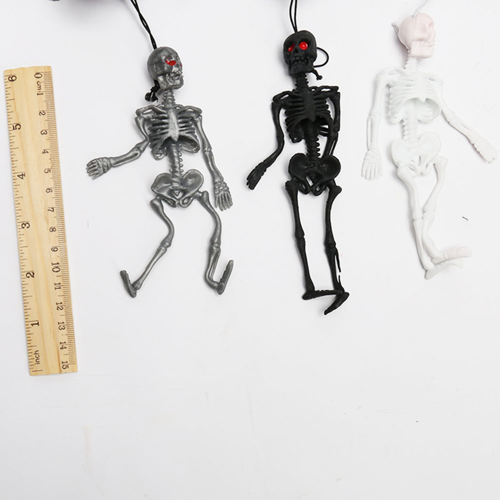 Funny Tricks Toy Replica Luminous Noctilucent Skull Skeleton Halloween Model Game Keychain Decor Party Property Pendant Toys