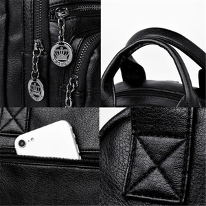 Image 5 - Korean Style Leisure Soft Leather Female Backpack 2018 Multifunction Travel Bag Mini Backpack Mom Women Shoulder Bag Sac A Dos
