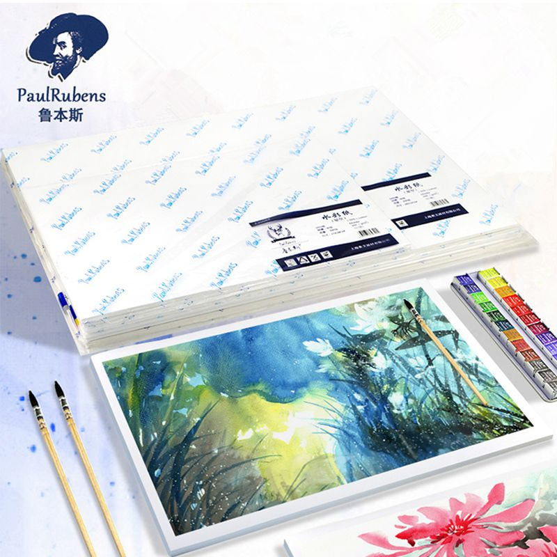 Rubens Professional 50% Cotton 300g/m2 Watercolor Paper 10 Sheets 32k/16k/8k/4k Water Color Paper for Drawing Art Supplies