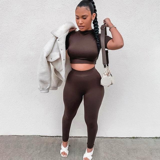 2021 Summer Women Sport Fitness 2 Two Piece Set Outfits Long Sleeve Crop Tops Tshirt Leggings Pants Set Bodycon Tracksuit 3