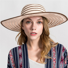 2019 new Summer Kentucky Derby Hat Flat Women High end Straw Wide side Sun Beach Cap Brim Boater
