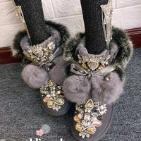 Original homemade European station heavy work sequins rhinestone beaded leather hair one leather thick snow boots
