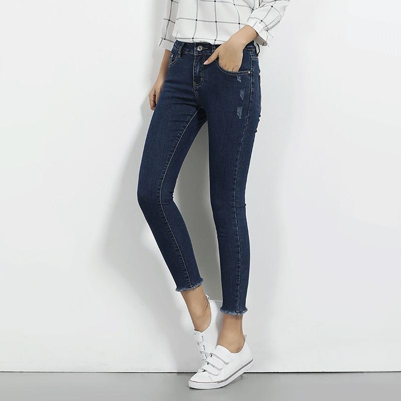 LEIJIJEANS Fashion Autumn Leggings Blue S 6XL Woman Mid Waist Plus Size Women High Elastic Full Length Pants Skinny Pencil Jeans