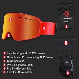 Image 5 - X TIGER di Marca da Neve Snowboard Occhiali Delle Donne Degli Uomini di Occhiali da Sci Doppi Strati 100% UV400 Anti Fog Grande Maschera da Sci Occhiali occhiali da Sci