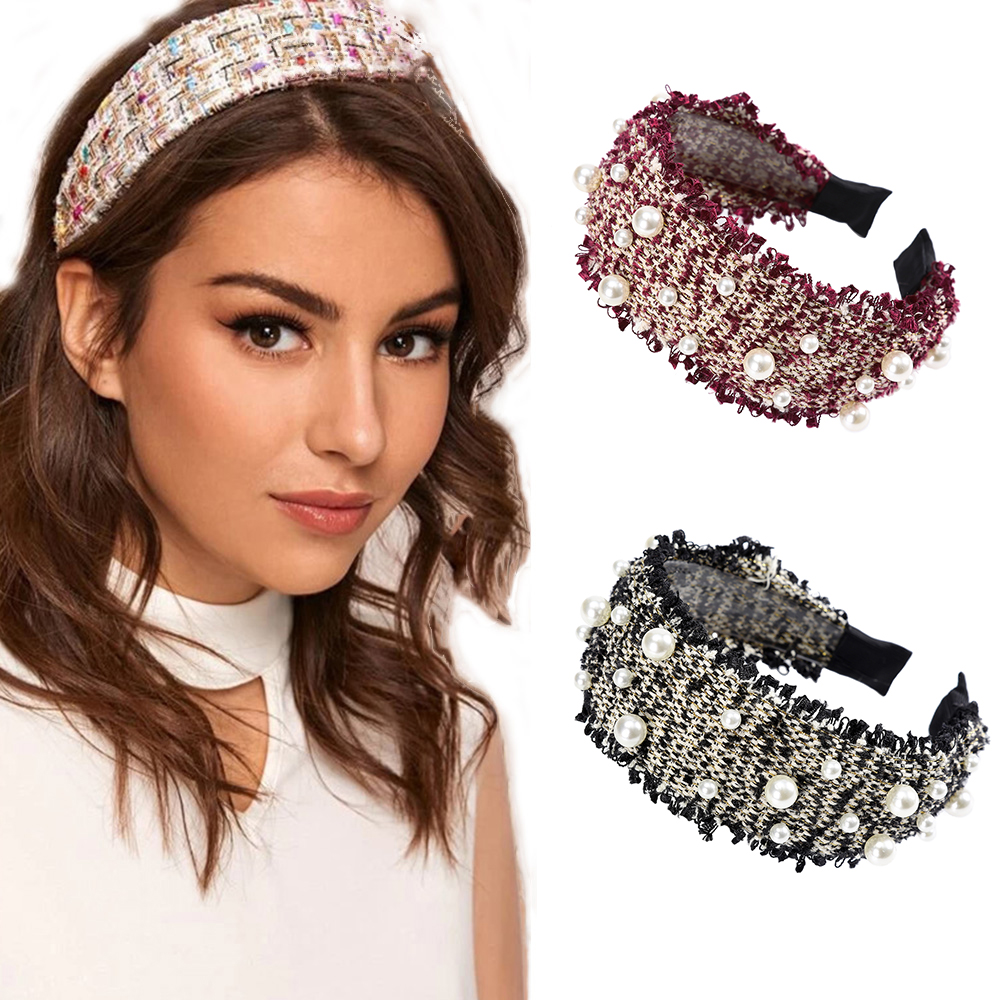 Haimeikang Vintage Plaid Head Hoop Headdress Pearl Fashion Bezel Hair Accessories Women New Retro Headwear Wide-brimmed Headband