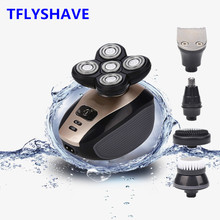 цена на 5 In 1 4D Men Rechargeable Bald Head USB Electric Shaver 5 Floating Heads Beard Nose Ear Hair Trimmer Razor Clipper Facial Brush