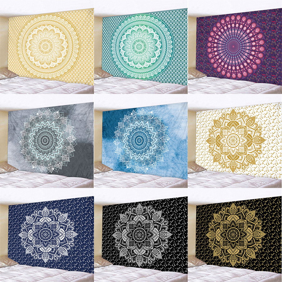 Indian Hanging Wall Tapestry Mandala Fabric Psychedelic Carpet Large Wall Tapestry Hippie Boho Decor Dorm Wall Cloth Tapestries