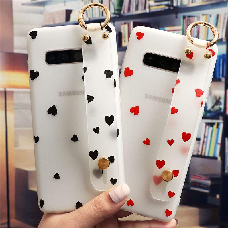 Love Heart Couple WristStrap <font><b>Case</b></font> For <font><b>Samsung</b></font> Galaxy S20 Ultra S10 S9 S8 S10e Note 10 Plus 9 8 A81 A71 A70 A51 <font><b>A50</b></font> A40 A21 Cover image