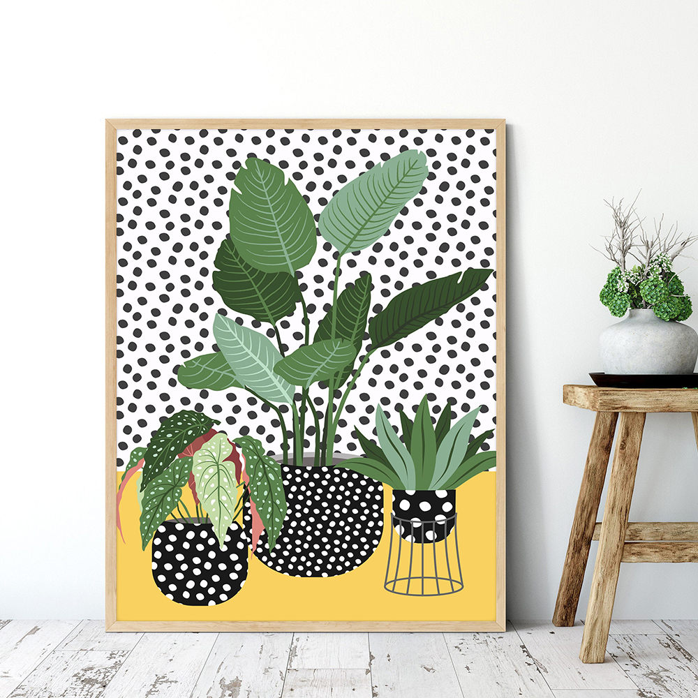 Nordic Quirky Plants in Spotty Vases Canvas Painting Botanical Poster And Print Living Room Bedroom Wall Art Picture Home Decor