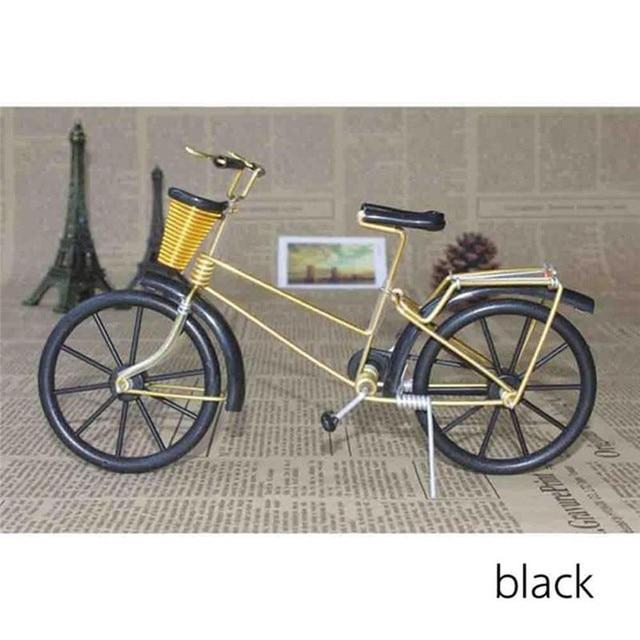 Antique Bike Model Metal Craft Home Decoration Vintage Bicycle Figurine Miniatures kids Gift Mini Creative Crafts 2