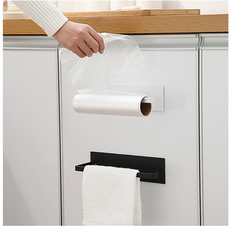 Mosodo Non perforated paper towel holder toilet paper hanger roll paper holder fresh film storage rack wall hanging shelf