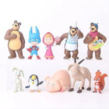 10pcs /set Russia Masha Creative toy bear doll gift for children The car or cake decoration Childrens day