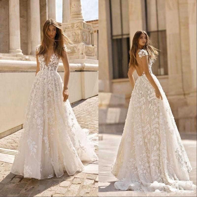 Berta A Line Boho Wedding Dress 2019 3d Floral Lace Backless Sexy