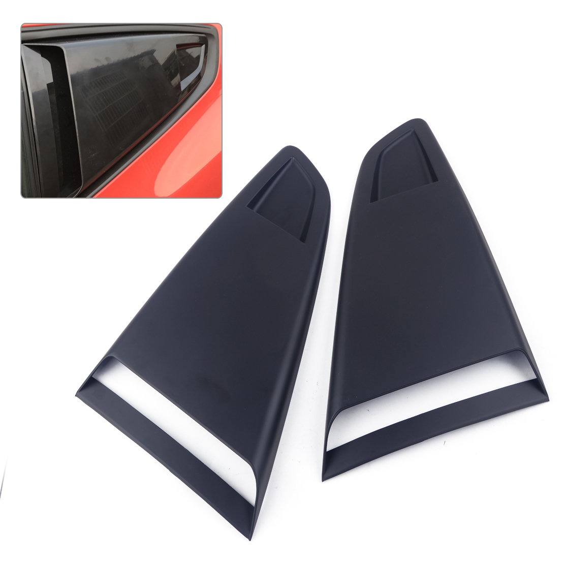 CITALL 1Pair Black Plastic Car Window Quarter Rear Louver Side Vent Scoop Cover Trim Fit For <font><b>Ford</b></font> <font><b>Mustang</b></font> <font><b>2015</b></font> 2016 2017 2018 image