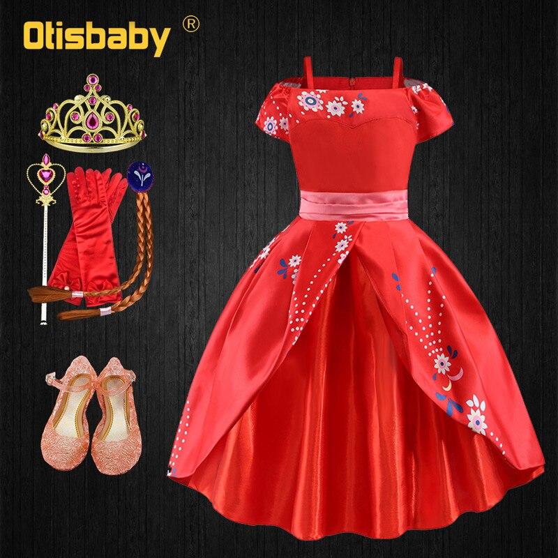 Ano novo natal elena avalor traje criança meninas fantasia elena fantasiar-se princesa elena vestido de aniversário festival vestidos vermelhos
