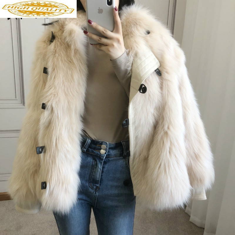 Real Fur Coat 100% Fox Fur Coat Women Clothes 2019 Autumn Winter Coat Women Korean Fur Tops Manteau Femme 818008 YY1903