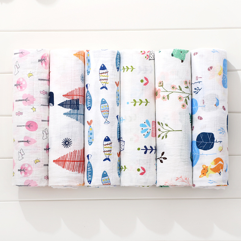Soft Muslin 100% Cotton Baby Swaddles Cute Cartoon Newborn Blankets Bath Gauze Infant Wrap Sleepsack Stroller Cover Play Mat