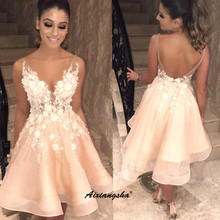 Spaghettibandjes Peach Homecoming Jurken Nieuwe Backless Lace Bloem Vestidos De Graduacion V-hals Organza Cocktail Jurk