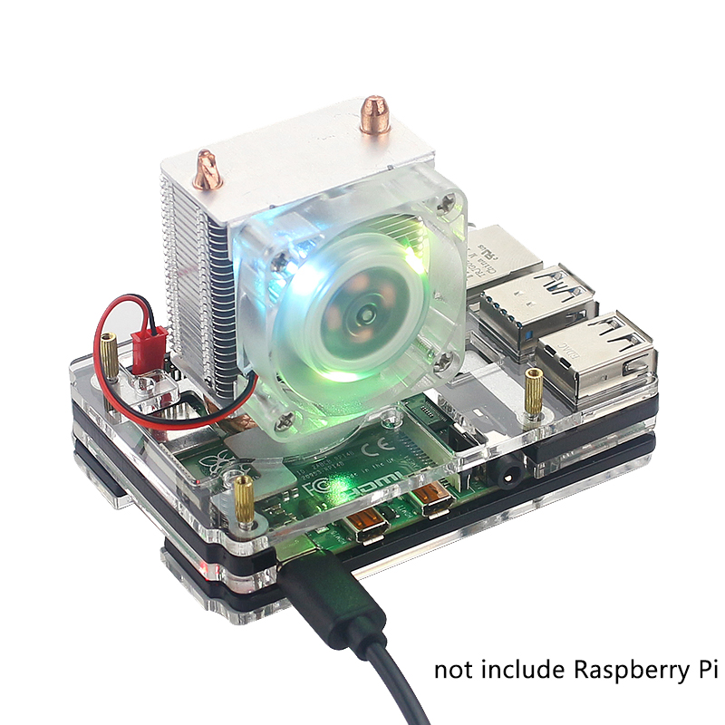 Raspberry Pi 4 Tower Ice Cooling Fan 7 Color LED Light Super Cooler + Silicone Heat Sink Case For Raspberry Pi 4B Model B/3B+/3B