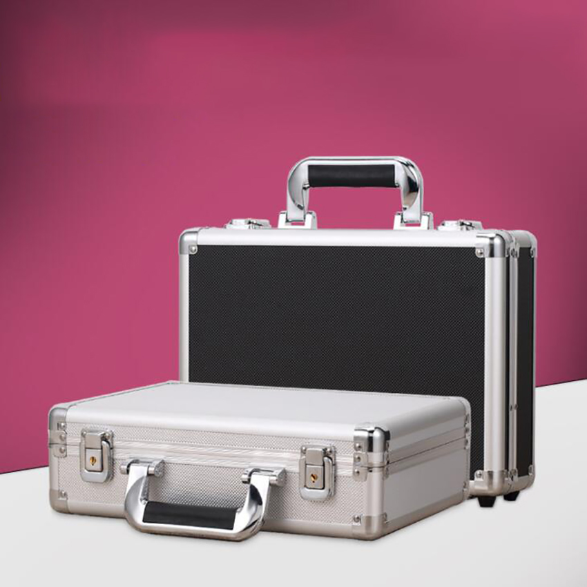 Aluminum Hard Case Briefcase Silver / Black Toolbox Carrying Case With Cloth Lining Flight Cases Portable Equiment Tool Case