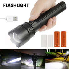 XHP90 Ultra Powerful LED Flashlight Torch USB Rechargeable Tactical Flashlight Telescopic