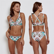 цена на 2019 Sexy Halter Bikini Swimsuit Women Bandage biquini Set Women Floral Print Bikini Set Swimming Swimwear Beach Suit