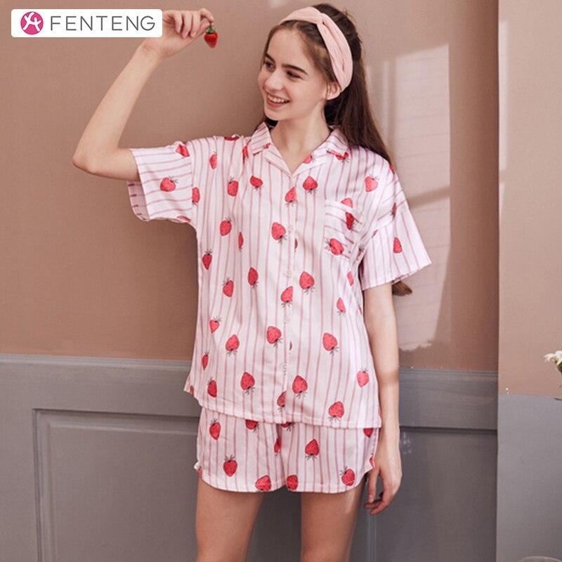 FENTENG Summer Women Suit Short Sleeves Homewear Clothing Female Comfortable Sleepwear Cardigan J98922293