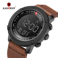 KADEMAN 2019 Luxury Sport Mens Watches Steps Counter LCD Digital Watch 3ATM Fashion Designer Casual Leather Wristwatches Relogio