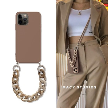 Luxury INS Crossbody Lanyard Necklace Marble chain silicone Case For Samsung S8 S9 S10E S10 S10 plus S20 FE S20 S21ultra cover 1