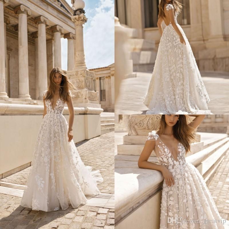 V Neck Lace Applique Wedding Dresses Berta Mermaid Back Split Bridal Gown Custom