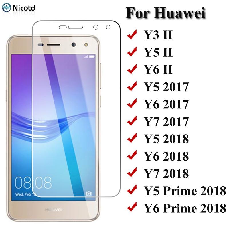 Hd vidro temperado para huawei y6 ii y5 ii y3 ii 9h protetor de tela vidro em huawei y6 y5 y7 2017 2018 2019 y5 prime y6 pro 2019