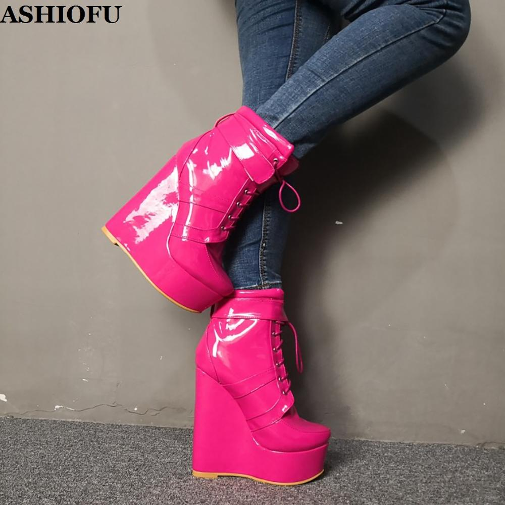 ASHIOFU New Real Photos Women Wadge Heel Boots Patent Leather Shoelace Party Prom Ankle Boots Winter Evening Fashion Boots Shoes