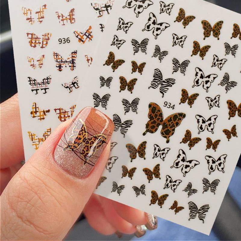 1 лист 3D наклейки для ногтей с леопардовым рисунком бабочки серия осень и зима сексуальные переводные наклейки для творчества украшение для...