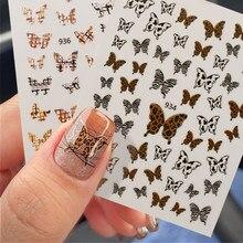 1 folha borboleta leopardo padrão 3d adesivos de unhas outono e inverno série sexy transferência decalques diy arte do prego decorarion