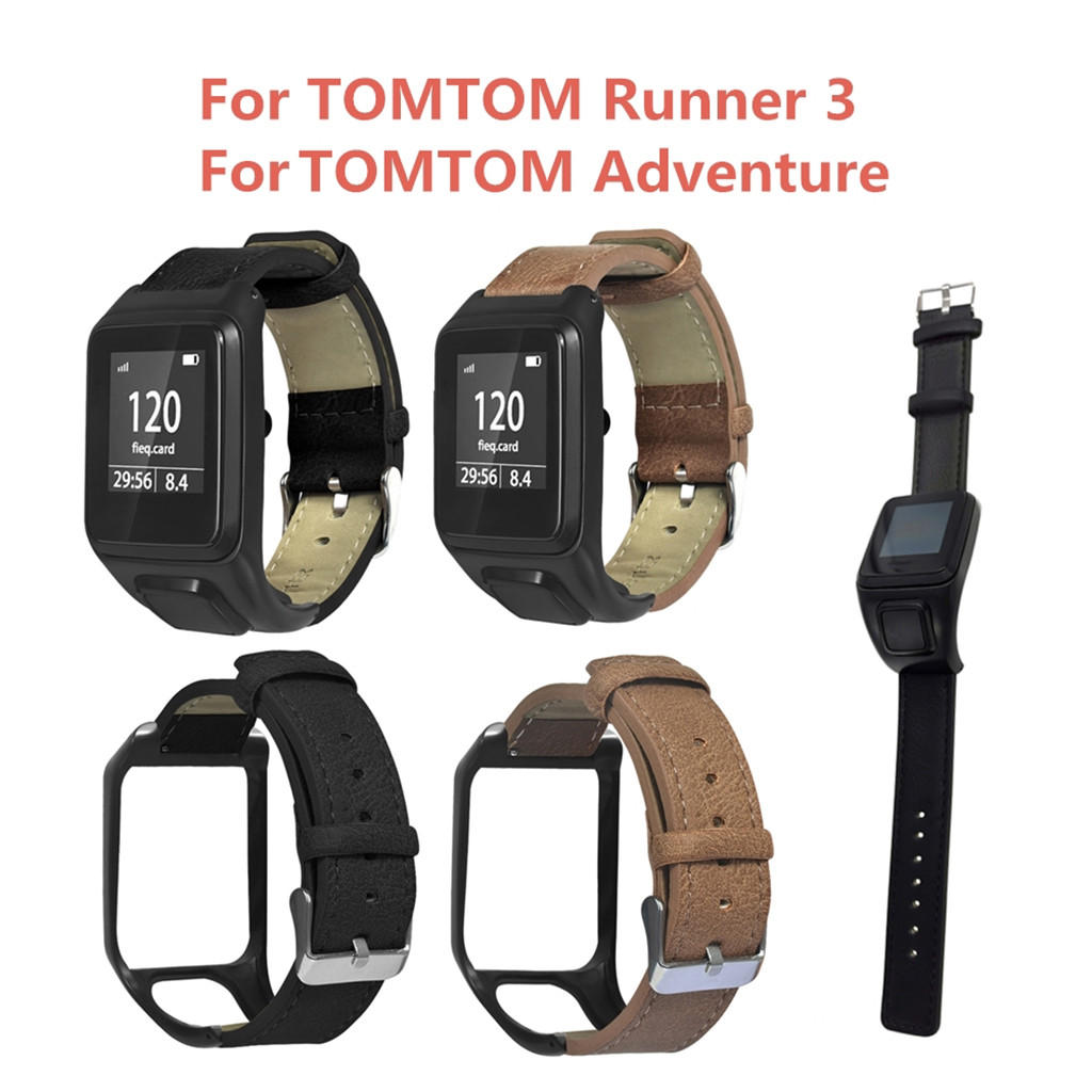 Watch-Band Tomtom Runner Leather Wriststrap Authentic 3/Adventurer Original Retro Comfort