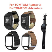 Original authentic comfort Replacement Retro Leather WristStrap Watch Band for TOMTOM Runner 3/Adventurer(China)