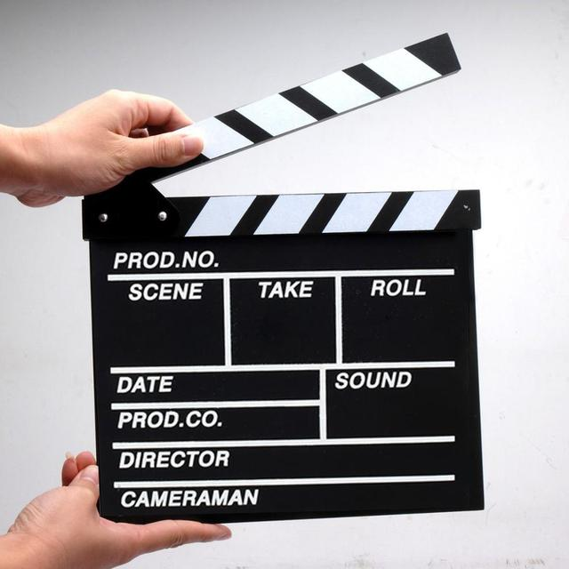 Film TV Show Cut Action Wooden Movie Clapboard Theater Party Oscar Decoration Movie Clapper Board Photo Studio Film Making Prop