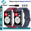Ремешок силиконовый для Huawei watch fit, сменный Браслет для наручных часов, регулируемая петля