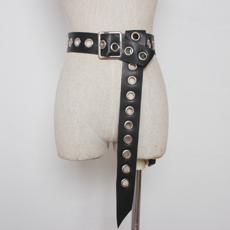 Belt For Women Fashion Knot Long Belt Black Hollow Rivet Knotted Soft PU Leather Strap Belt Silver Pin Square Buckle Waistbands