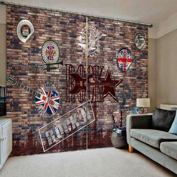 Brown brick curtains for bedroom 3D Blackout Curtains Living Room Bedroom Hotel Window curtains