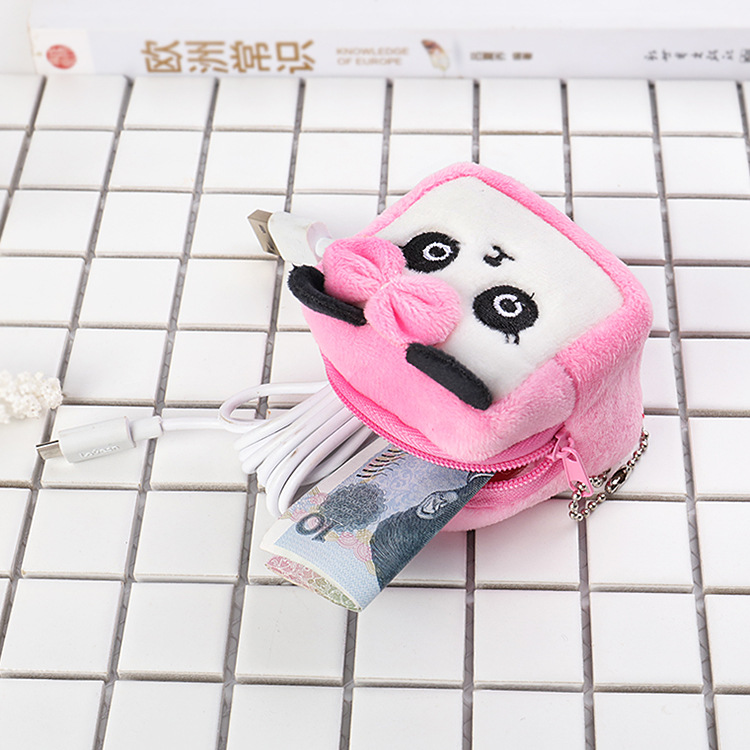 Suitable For Cube 3D Cartoon Cute Thick Creative Wallet Plush Coin Bag Students Men And Women Holiday Ceremony