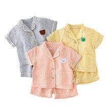 Baby Sleepwear Nightgown Pijamas Short-Sleeve Newborn Girls Summer Cotton Plaid Boys