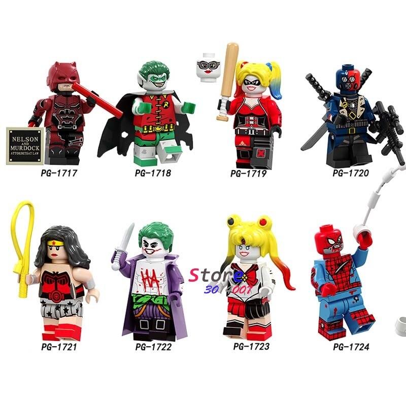 Single DC Red Son Robin Harley Quinn Deathstroke Wonder Woman Joker SpiderMan Building Blocks Toys For Children