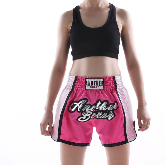 2021 Wholesale Embroidered Letter Contrast Color Splice Sports Women Muay Thai Shorts Custom Boxing Shorts Wholesale 5
