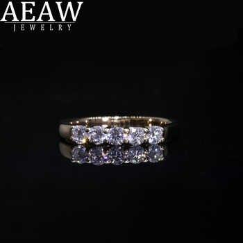 AEAW 18k Gelb Gold 0,1 ct 3mm Insgesamt 0,5 ctw DF Runde Cut Engagement & Hochzeit Moissanite Labor gewachsen Diamant Band Ring für Frauen